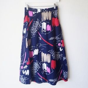80's Blue Paint Brush Print A-Line Skirt